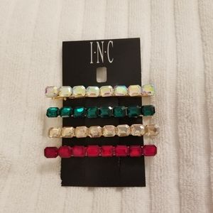 INC International Concepts 4-Pc. Gold-Tone Multicolor Crystal Booby Pin Set New!
